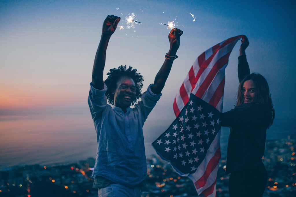 Couple celebrating for the fourth of July