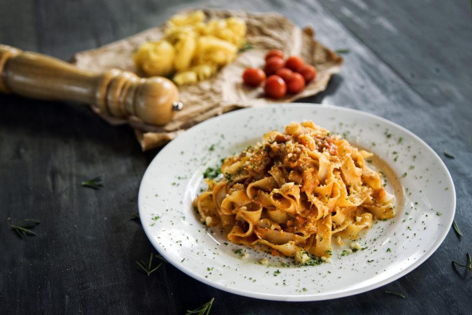 Homemade fettucine pasta with bolognese sause